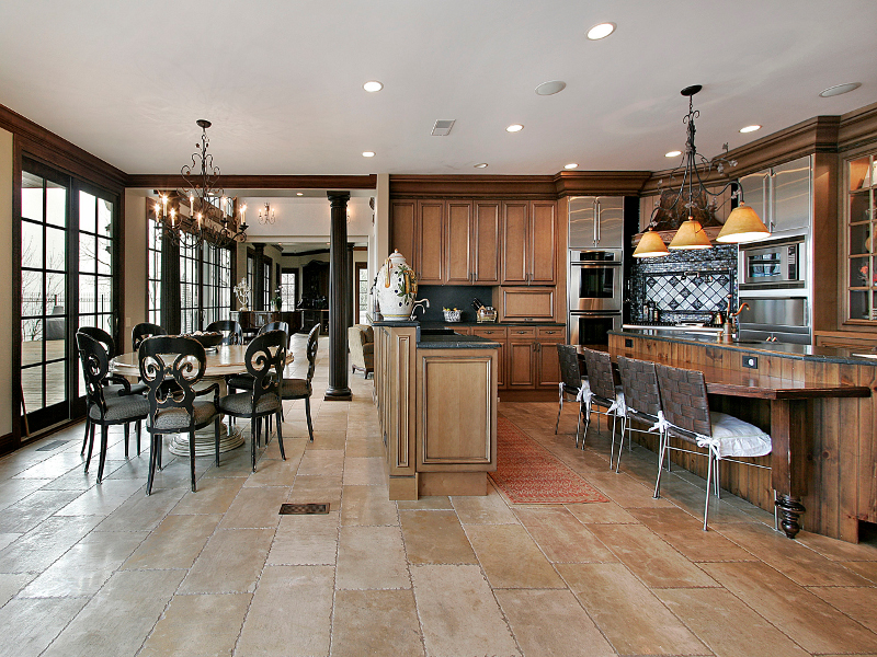 Tile Gallery   Tile Flooring Enhances The Beauty And Elegance Of This  Kitchen And Breakfast Area
